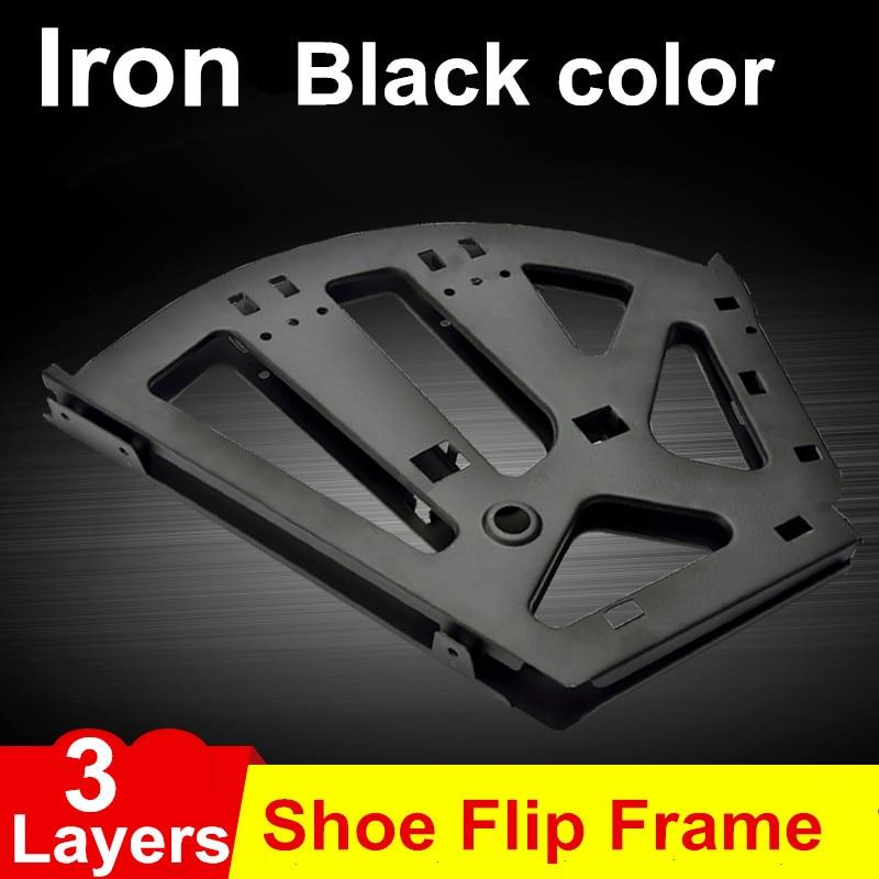1Pair Iron Shoe Rack Flip Frame 3 Layers option Black Color Hidden Hinge<br>