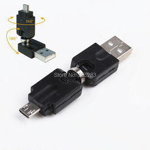 360 Degree Rotation Micro USB Male to USB Male Adapter Cable USB OTG Connector For Tablet Computer Phone USB Disk Keyboard HY899