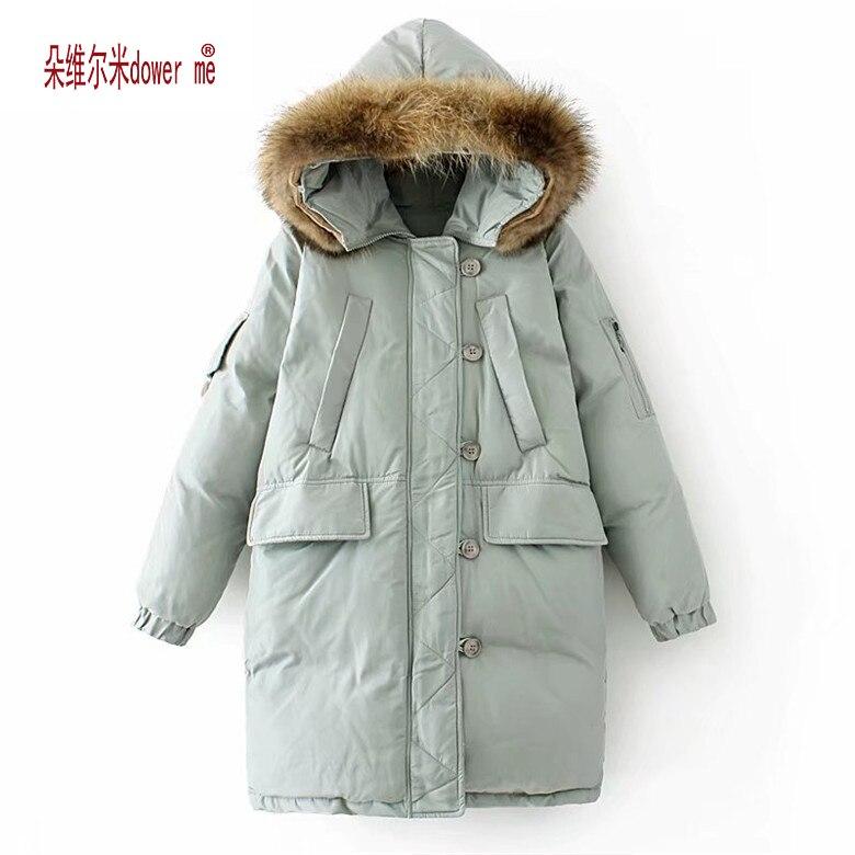 dower me Long Parkas 2017 Winter Warm Long Sleeve Faux Fur Collar Women Cotton Jacket Female Hooded Outwear Coat Slim JacketÎäåæäà è àêñåññóàðû<br><br>