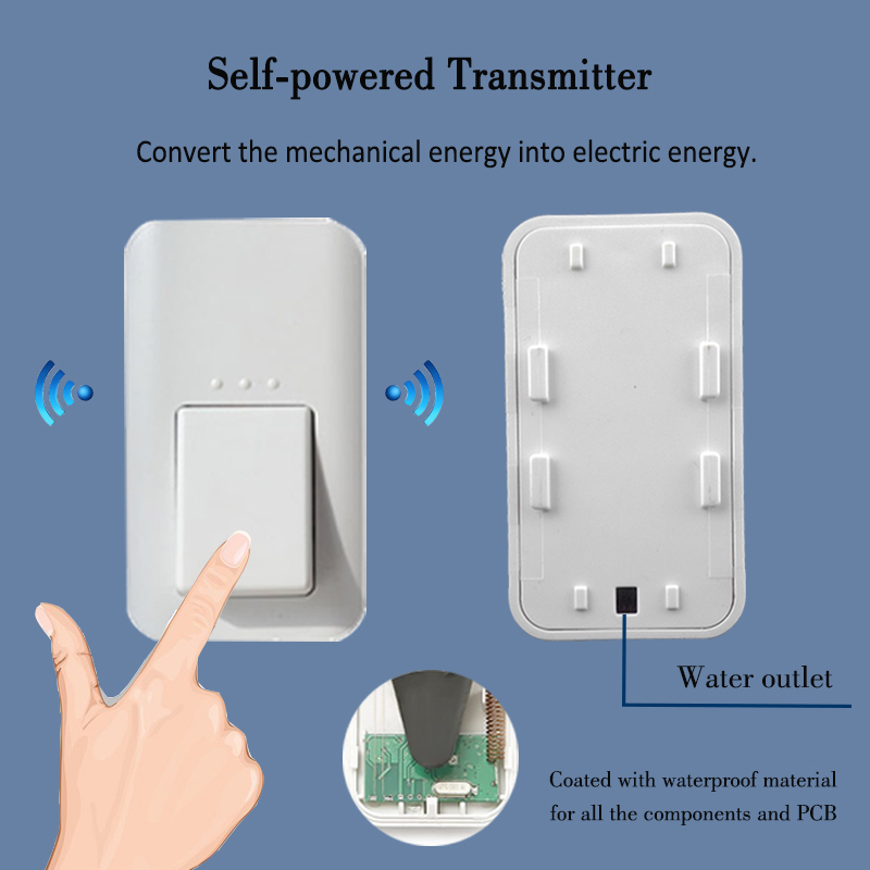 1 button + 3 receiver Augreener Kinetic Wireless Doorbell that NO Battery requiried<br><br>Aliexpress