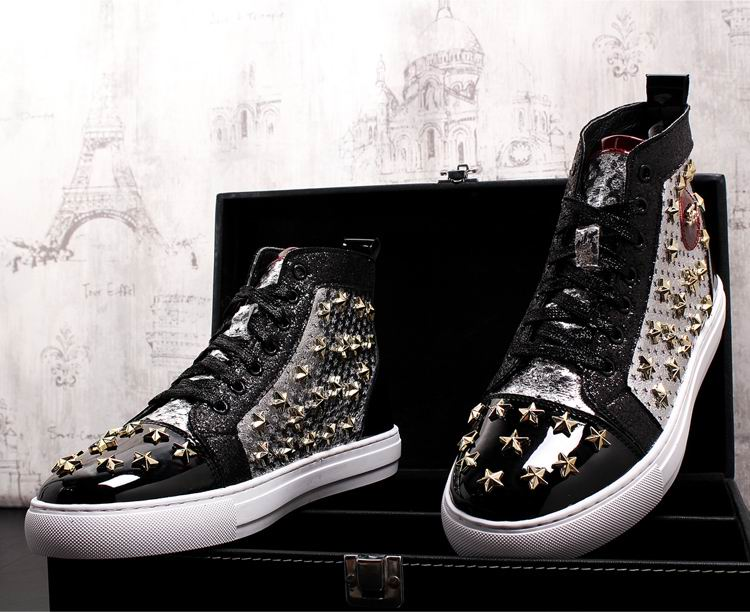 ERRFC Personalized Fashion Men High Top Casual Shoes Luxury Star Rivets Charm Mixed Colors Ankle Boots Man Trending Leisure Shoe 15 Online shopping Bangladesh