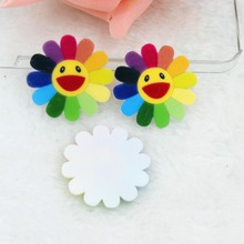 10pcs/lot flat back planar resin flower with smile kawaii flat back resin cabochons accessories(China)