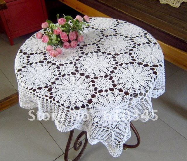 Hot selling 100% cotton hand knitting Crochet tablecloth 85x85cm Table cover table cloth TC008