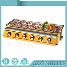 6 Burners Yellow BBQ Gas Grill Steel Shield/Glass Shield Outdoor Picnic Barbecue Grill(China)