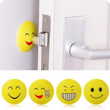 Round Smile Face Cartoon Doorknob Silencer Pad Wall Sticker Home Decor Decoration Stickers For Refrigerator Vinilos Paredes Diy