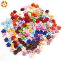 100PCS/Lot Mini Handmade Satin Rose Ribbon Rosettes Fabric Flower Bow Appliques For Wedding Decoration Craft Sewing Accessories
