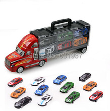 DiBang Portable Plastic Container Truck Alloy Car Container truck with 12 alloy car Puzzle Simulation Model Toy Gift For Boys(China)