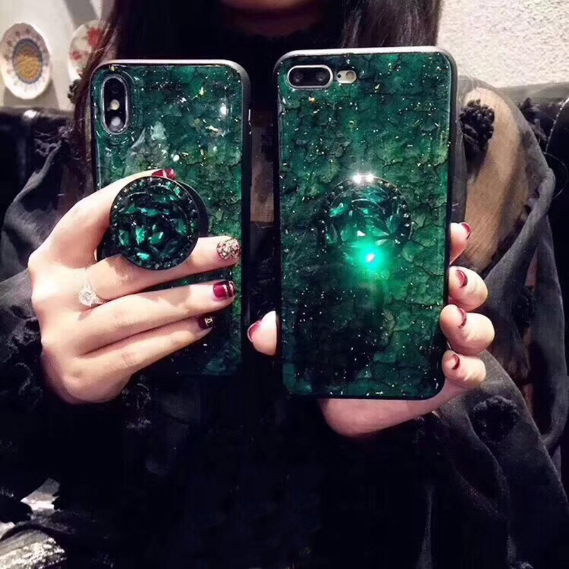 Luxury Diamond Marble Glitter silicon phone case for iphone 7 8 6 6s plus X XR XS MAX holder ring Cover For Samsung S8 S9 Note 9 (1)
