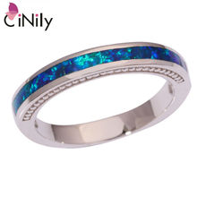 CiNily Created Blue Fire Opal Silver Plated Ring Wholesale Retail Fashion for Women Jewelry Ring Size 6 7 8 9 10 OJ9001