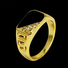 SHUANGR fashion 2 color Classic Rhinestone Men Ring Black Enamel Male Finger Rings colorSize 7-12