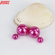 Direct Selling Round Trendy Girls Earings 6 Colors Hot Double Earrings Side Pearl For Fancy Fine Jewelry