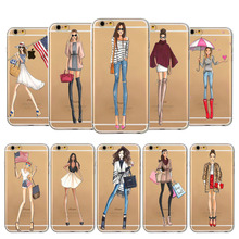 Soft TPU Cover For iPhone  5/5s/SE  6/6s 6P/6SPlus Fashionable Girl Printed Ultra thin Cases For Apple Popular Designs