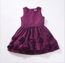 purple girl flower dresses fashion children wedding dress high-quality goods princess party dresses 3-8y wholesale(China)
