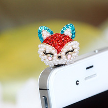 Cute Ahri Design Network Explosion Fashion style 3.5mm Mobile Phone Ear Cap Dust Plug For Andriod Iphone dust plug(China)