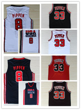 2016 Throwback Men's # 8 # 33 Scottie Pippen Basketball Jerseys Scottie 1992 Dream Team Color Black White Red Free shipping(China)