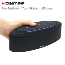Rosimee 20W Bluetooth Speaker Portable Super Bass Wireless Speaker Loudspeaker with changging LED Lamp PK Piple S5 Bluedio BS-3