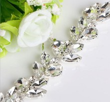 Free Shipping 1yard Crystal Rhinestone Trimming for Wedding Rhinestone Bridal Applique,Wedding Applique,Rhinestone Chain TONG026