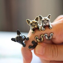 2016 Fashion Charming Lovely Animal Lovely French bulldog Pugs ring Wrap Ring cute for women Unisex Punk Rings