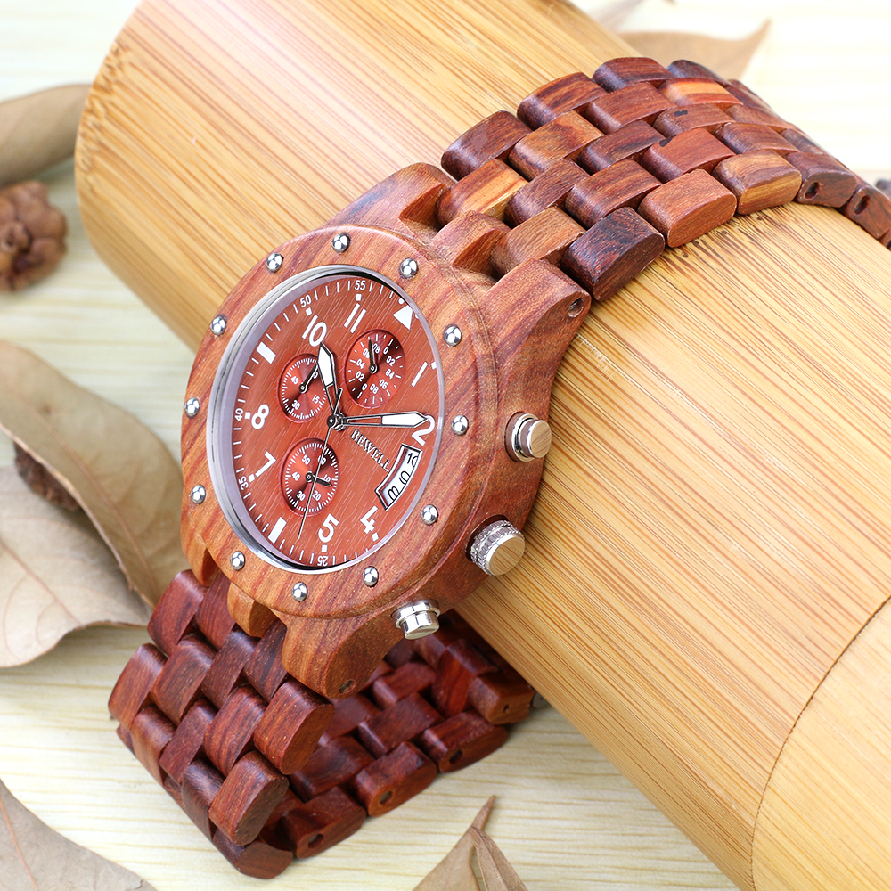 BEWELL Wood Watch Mens Watches Top Brand Luxury Designer Military Watch Quartz Analog Wrist Watch with Chronograph Calendar Date 7