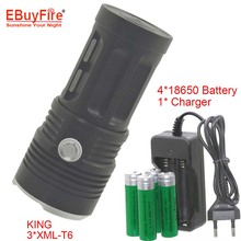 High power 3T6 3800LM LED Flashlight KING 18650 Torch  3x XM-L T6 3-Mode Flashlight