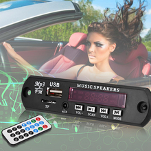 Car Digital LED 12V Auto MP3 Player Decoder Board Panel Support FM Radio USB TF AUX Remote Display Memory Function(China)