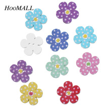 Hoomall Brand Buttons 100PCs 20mm Multicolor Wooden Buttons Flower Decorative Buttons Scrapbooking Crafts DIY Sewing Accessories(China)