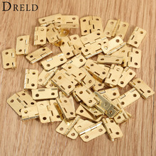 50Pcs 18x16mm Kitchen Cabinet Door Hinges Furniture Accessories 4 Holes Gold Drawer Hinges for Jewelry Boxes Furniture Fittings(China)