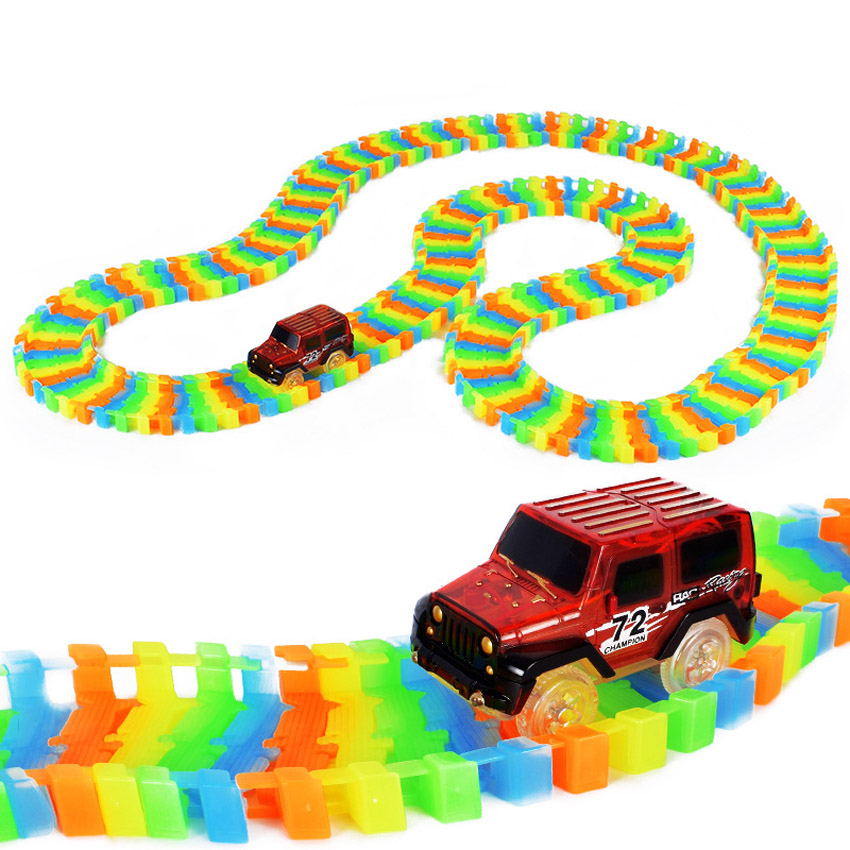 (LONSUN)1 st LED Track Car 100/150/220/250 Race Bocht Flex Glow Dark Assemblage Speelgoed For children Toys Christmas gift(China)