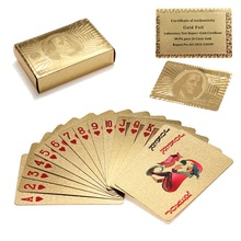 Certified Pure 24 K Carat Novelty Gold Foil Plated Poker Playing Cards w/ 52 Cards & 2 Jokers Gift Table Games