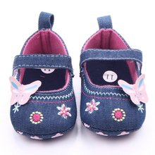 2017 Shoes Baby Girl Denim Toddler Butterfly Embroidered Princess Crib Shoe First Walkers