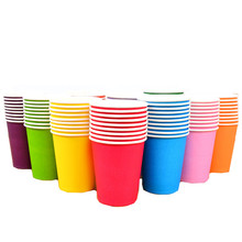 10pcs/set Solid Color Paper Cup Food Grade Disposable Tableware For Wedding Baby Shower Children Birthday Party Supplies 250ML