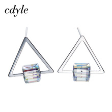 Cdyle Crystals From Swarovski Stud Earrings Women Earring S925 Sterling Silver Jewelry Triangle Elegant Fashion Trendy Vintage(China)