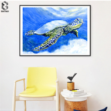 Watercolor Sea Turtle Posters and Prints Wall Art Canvas Painting Pictures For Living Room Children's Room Decoration Home Decor(China)