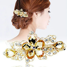 Buy Shiny Women Elegant Rhinestone Flower Hairpins Hair Barrettes Clip Crystal Floral Hair Clip Hair Accessories Girls Hairwear for $1.29 in AliExpress store