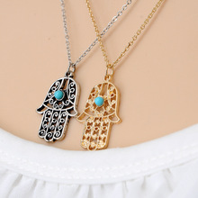 Retro brand design luck Hamsa Hand of Fatima Men's silver charm necklace pendant necklace hand palm