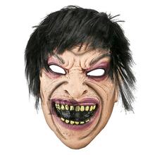 H&D Latex Disgusting Yellow Tooth Full Face Mask With Black Hair Halloween Carnival Masquerade Cosply Party Fancy Dress Props