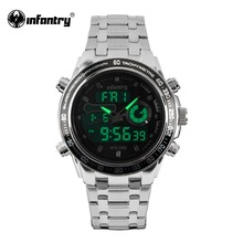 2017 Brand Luxury Full Stainless Steel Watch Men Business Casual Quartz Watches INFANTRY Military Wristwatch Waterproof Relogios(Hong Kong)