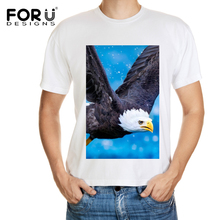 FORUDESIGNS 2017 Men's Fashion Summer America Hawk owl T Shirt Design Casual Male Tops Hipster Printed Own Style Tees for men