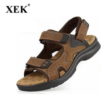 New 2017 mens sandals Genuine leather cowhide sandals outdoor casual men summer leather shoes for men(China)