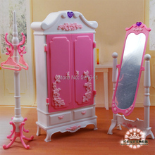 Free Shipping Girl birthday gift Doll wardrobe + dressing mirror DIY toys doll furniture doll accessories for barbie doll