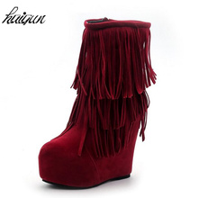 13cm Ultra high Suede Tassel Ankle Boots Women Height Increasing Female Autumn winter Fringed Booties(China)