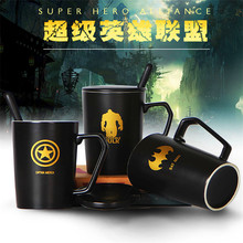 1Pcs Fashion film image Creative Anime Avengers Ceramic Mug with lid and spoon Cartoon Crown coffee mark cup breakfast milk mug