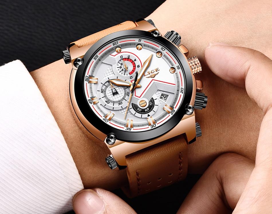 Reloje 18 LIGE Men Watch Male Leather Automatic date Quartz Watches Mens Luxury Brand Waterproof Sport Clock Relogio Masculino 23