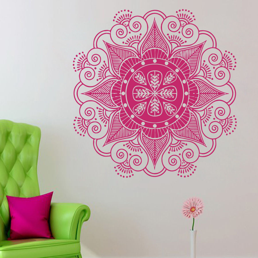 Online buy wholesale decorative wall stencil from china decorative 2016 free shipping home decor wall decals mandala yoga ornament indian decal vinyl sticker home decor amipublicfo Images