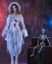 New Sexy Dangerous Corpse Bride Ghost Cosplay Costume Dress Halloween Masquerade Dress(China)