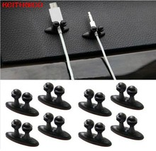 KEITHNICO 6Pcs/Lot Adhesive Car Cable Clips Cable Winder Tie Fixer Organizer Holder Desk Wall Cable Wire Clips Cord Tie Drop