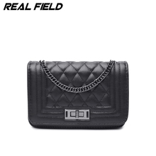 Real Field Fashion Woman Bag Promotional Ladies luxury PU Handbag Chain Messenger Shoulder Bag Ladies Plaid Women Crossbody 287