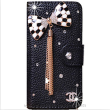 Newest DIY Handmade Crystal Case For Motorola droid turbo XT1254 PU Leather Case Wallet Bling Floral Cases Rhinestone case(China)