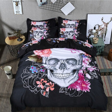 3D skull bedding sets printing Luxury housse de couett duvet cover set queen king Size bed sets  bed line 3/4 Pcs