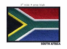 "SOUTH AFRICA embroidery black border flag iron on patch 3"" wide football patch/badge for fashion(China)"